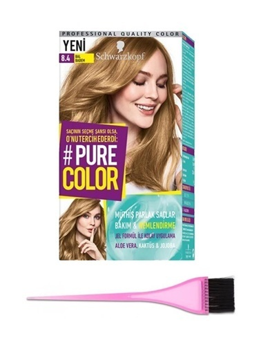 Schwarzkopf Schwarzkopf Pure Color 8.4 Numara Bal Badem SaÇ Boyası + Boya FırÇası Renksiz
